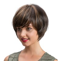 Women's Short Straight Mix Color Fashion Side Bangs Soft Touch Bob Wig Party Costume Halloween Full Wigs