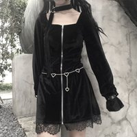 Retro Piazza Francese collare Lolita Dress Halter Girocollo manica lunga Gothic Black Outfits 2019 Women Party Club Halloween Vestidos