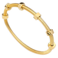 Designer Love Bracelet Women Fashion Style Gold Colour Stainless Steel With Nuts Can Move Screw Cuff Bracelet Bangle For Women Fashion Jewel