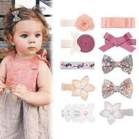 50PCS Neue Baby-Spitze Perle Hiar Clips Princess Bowknots Haarnadeln nette Kind-Blumen-Haar-Zusätze Großhandelsmädchen-Kopfbedeckung