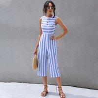 2020 été nouvelle mode des femmes est populaire bleu décontracté Pantalon rayé manches simple boutonnage Capri Jumpsuit
