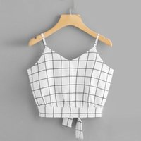 Vest Women' s Women' s Self Tie Back V Neck Plaid Cr...