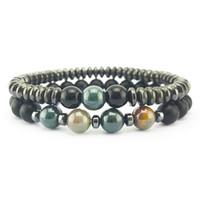 Perles d'hématite magénétique bracelet bracelet impérial Jasper Turquoise Bracelets Femmes Mens de mode Bijoux Hip Hop Bijoux Drop Ship