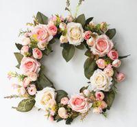 Runde Rose Hängende Kranz Blumen Garland Mit Seidenband für Tür Wand Dekor Hochzeit Auto Dekoration Blumen GB240