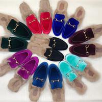 Sandálias de grife Mens Fur Mulas Chinelo Sapatos Mocassins 100% Princeton Real Couro De Couro Do Metal Cadeia Chinelos De Couro para As Mulheres EUA 11.5