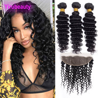 Brazilian Human Hair Extensions Deep Wave 3 Bundles With 13X...