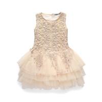 Nuovo vestito estivo da ragazza in pizzo Abito da bambina Vestito da principessa per bambina 3-7 anni Vestiti per bambini Costume da festa per bambini Abito da ballo Beige