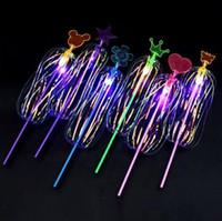 Brinquedos coloridos luminescentes tamanho grande crianças Variedade Torção Divertido Fita Varinha mágica Flash de luz Flor da bolha Brilho Vara SN2346