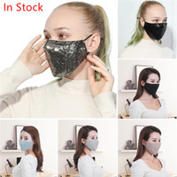 máscaras de lantejoulas sexy anti-neblina máscaras de moda máscara de ouro de algodão preto do partido unisex brilhando kpop 5pcs anti rosto Máscara de poeira