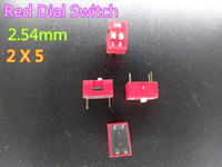Elektronische Komponenten 50pcs / lot rot 2P-Zifferblatt-Schalter 4 Fuß 2.54mm 2x5 auf Lager