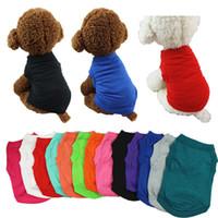 애완 동물 T 셔츠 솔리드 개 의류 패션 탑 셔츠 조끼 코튼 의류 개 강아지 작은 강아지 옷 저렴한 애완 동물 의류 JXW210