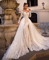 Champagne-Spitze-Nixe Brautkleider Sheer Ausschnitt mit langen Ärmeln Tulle Applique Sweep Zug Hochzeit Brautkleider mit abnehmbarer Schleppe