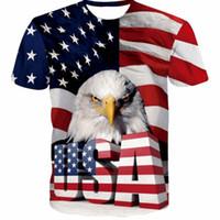2020 Free shipping Hommes Femmes 3D T-shirt Harajuku T-shirts refroidissent États-Unis Eagle Imprime Homme Femme Hipster drapeau de l'Amérique t chemises