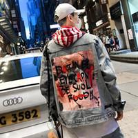 힙합 낙서 인쇄 남성 재킷 패션 Casaul 찢어 씻어 데님 레트로 자켓 하이 스트리트 스트리트 M-XXL