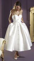 Короткие свадебные платья с атласным чаем длиной до пола, милые 1950-е годы Винтажные свадебные платья Короткие свадебные платья для второй свадьбы