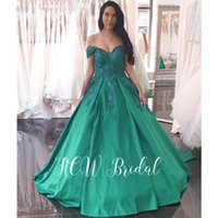 Newest 2019 Green Ball Gown Arabic Evening Dress Gorgeous  Lace Off The Shoulder Long Formal Occasion Women Dresses