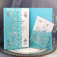 Personalice la impresión de la boda del bolsillo del corte del láser de la impresión con la tarjeta RSVP DIY Elegant Lace Quinceañera invita a las tarjetas de evento de fiesta