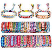 Hot 100 piezas pulsera de la amistad tejida hecha a mano la cuerda trenzada pulsera colorida del arco iris bohemio de la playa para la joyería de las mujeres 30 colores