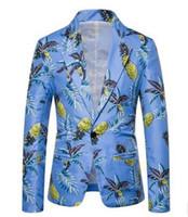 CALOFE Hombres Blazer 2019 Nueva Marca de la marea de los hombres de moda de impresión de la cadera Tamaño Design Plus caliente Casual Male Fit chaqueta del juego del traje Venta caliente