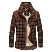 Männer Warme Jacke Fleece Thick-Armee-Mantel-Herbst-Winter-karierte Jacke Männer Slim Fit Kleidung Herren-Marken-Kleidung
