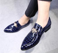 Crocodile Grain Slip- On Oxfords Shoes Men Casual Fashion Poi...