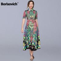 Borisovich Vintage Print Women Summer Casual Long Dress New 2019 Fashion Turn-down Collar Ladies Elegant A-line Dresses N1041