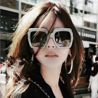 Yeni Avrupa ve Amerikan Eğilim Büyük Çerçeve İmitasyon Elmas Güneş Gözlüğü 5038 Kare Moda Güneş Gözlüğü Sokak Çekim Kişilik Sunglass