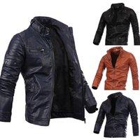 Katı Cep Fermuar Homme Giyim Gündelik Giyim Erkek autumm Tasarımcı PU Ceketler Yaka Uzun Kollu Standı
