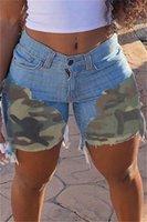 Female Clothing Womens 2020 Designer Luxury Shorts Jeans Summer Mid Waist Camouflage Panelled Short Pants Fashion Slim