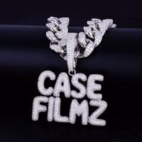 Con catena cubana 20MM 16inch su misura da uomo Nome piccola bolla lettere pendente ghiaccia fuori cubico zircone gioielli Hip Hop per il regalo