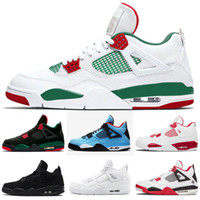 White Pizze Tattoo 4 4S Chaussures de basketball hommes Pizzeria Noire Pure Money