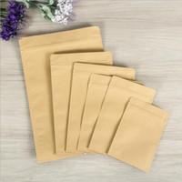 20pcs Küçük Kraft Kağıt Torba İç Alüminyum Folyo Kılıfı Yeniden kullanılabilir Düz Fermuar Bag Packaging