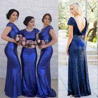 Paillettes Bridesmaids Dresses Western Country Wedding Party abiti Boho di estate Spiaggia Backless damigella d'onore Abiti da sposa Mermaid Giudizi Abiti