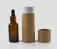 Özel cam damlalık şişe kraft kağıt silindir ambalaj kutusu için 10 ml 15 ml 20 ml 30 ml 50 ml 100 ml perfuem uçucu yağ e sıvı şişe