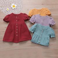 Crianças meninas vestidos infantil manga buff princesa vestido verão retalhos de algodão botão vestidos vestidos de dança de festa de bebê saias PY465