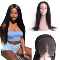Pelo virgen brasileño 4x4 Seda de la base de seda Cierre Bleach Nudo con pelo Baby Hair Brasileño Humano Remy Cierre Color Natural Color Delantero Pelucas delanteras