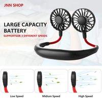 2020 Mini-Ventilator LED mit Weihrauch USB aufladbare Neckband Faule Umhänge Dual-Sport 360-Grad-Drehung hängenden Hals Kühlventilator