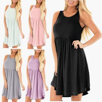 Women O- Neck Dress Pleated Casual Sleeveless Above Knee Dres...