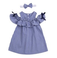 Summer kids Girls Clothes Toddler Baby Kids Off- shoulder Bow...