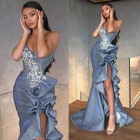 Sexy Side Split Mermaid Prom Kleider mit Rüschen 2020 Sweetheart Spitze Applique Pailletten Sweep Zug Abend Party Kleider