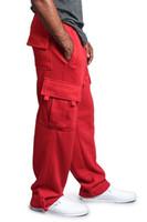 رجل عارضة السراويل البضائع مصمم مع جيوب تصميم بنطلون مستقيم مرونة الخصر الرياضة عداء ببطء Pantalones Sweatpants