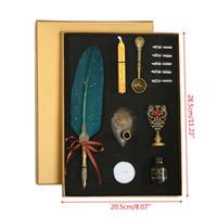 Vintage Oro Espolvorear Feather Quill Dip caligrafía Escritura de la pluma de tinta 5 Semillas Conjunto de escritorio caja de regalo