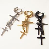 1 قطعة الشرير الفولاذ المقاوم للصدأ القرط مربط الرجال الصليب الأزياء القرط الشرابة الصلبان ثقب الجسم مجوهرات الأسود