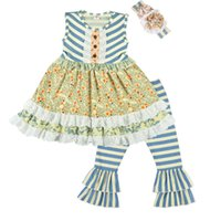 New Baby Girls Clothing Set Kids Striped and Floral Cotton D...