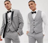 2020 맞춤형 회색 망 정장 검은 옷깃 슬림 맞는 결혼식 슈트 신랑 / Groomsmen Prom 캐주얼 정장 (자켓 + 바지 + 조끼 + 나비 넥타이)