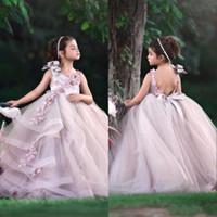 2020 Küçük Bebek Çiçek Kız Elbise Jewel Boyun Açık Geri Bir Çizgi Tül Uzun Çocuklar Örgün Giyim Dantel Aplikler Ile Doğum Günü Abiye
