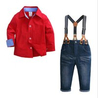 2ST Kind-Jungen-Kleidung Set Red Shirt Jean Pant Anzug Outfit Latzhose Langarm Kinder Kleidung Herbst 1-7Years