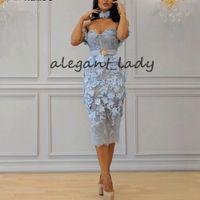 Céu azul-comprimento do chá vestidos de baile de formatura 2019 querida Dubai Árabe 3D Floral Lace Applique Belt Sereia Ocasião Evening Wear vestido