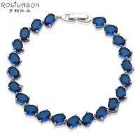 ROLILASON elegant Jewelry for Ladies Deep Blue Crystal Silve...