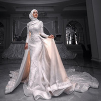 Ayrılabilir Tren Yüksek Yaka Uzun Kollu Gelinlik Boncuk Tül elbiseler de mariée ile Muhteşem Mermaid Dantel Müslüman Gelinlik